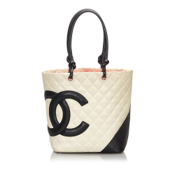 Chanel B Chanel White Ivory with Black Lambskin Leather Leather Cambon Ligne Tote Italy