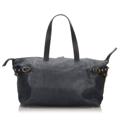 Celine AB Celine Blue Navy with Black Leather Boston Bag Italy