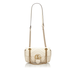 Gucci A Gucci White with Gold Leather Quilted Marmont Crossbody Bag Italy