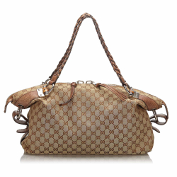 Gucci B Gucci Brown Beige Canvas Fabric GG Bamboo Bar Shoulder Bag Italy