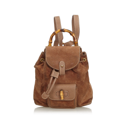 Gucci B Gucci Brown Dark Brown Suede Leather Bamboo Drawstring Backpack Italy