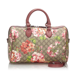 Gucci AB Gucci Brown Beige with Pink Coated Canvas Fabric GG Supreme Blooms Boston Bag Italy
