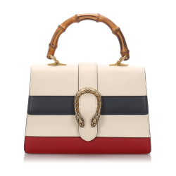 Gucci AB Gucci White with Multi Leather Medium Dionysus Bamboo Top Handle Satchel Italy