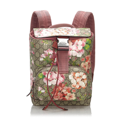 Gucci B Gucci Brown Beige with Multi Coated Canvas Fabric Small GG Blooms Backpack Italy