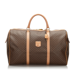 Celine B Celine Brown PVC Plastic Macadam Travel Bag Italy