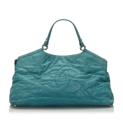 Chanel B Chanel Blue Leather Wild Stitch Tote Bag Italy