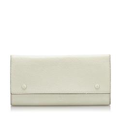 Celine A Celine White Ivory with Red Leather long Wallet France