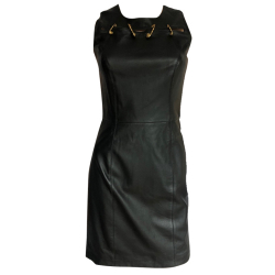 Versace Leather dress with gold pins
