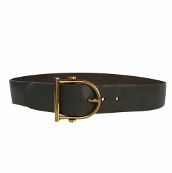 Gucci Grey belt with gold buckle