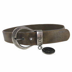 Christian Dior Khaki belt with silver buckle