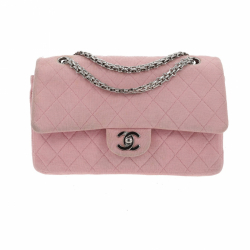 Chanel Timeless medium double flap bag pink jersey