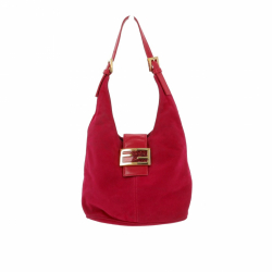 Fendi Shoulder bag in pink suede and golden hardware.
