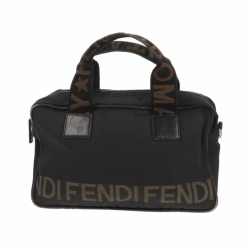Fendi handbag in black fabric with beige details