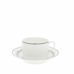 Hermès Chaine D'Ancre Platinum Tea cup and plate.