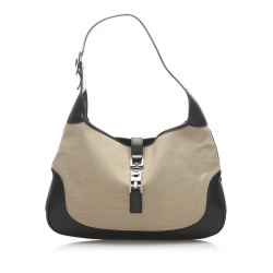 Gucci B Gucci Brown Beige with Black Canvas Fabric Jackie Shoulder Bag Italy