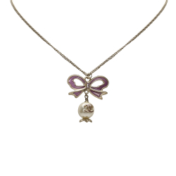Chanel B Chanel Silver with White Metal CC Ribbon Rhinestone Necklace France