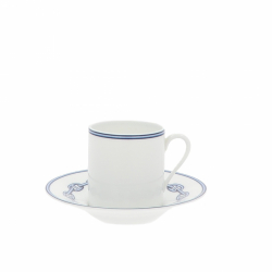 Hermès Chaine D'Ancre Blue Coffee Cup and plate