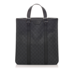Gucci B Gucci Black Coated Canvas Fabric GG Supreme Tote Bag Italy