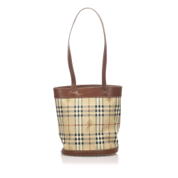 Burberry AB Burberry Brown Beige with Multi Canvas Fabric Haymarket Check Shoulder Bag United Kingdom