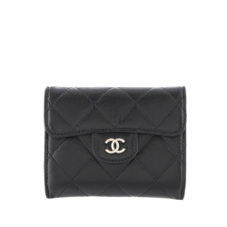Chanel AB Chanel Black Lambskin Leather Leather Matelasse Coin Purse France