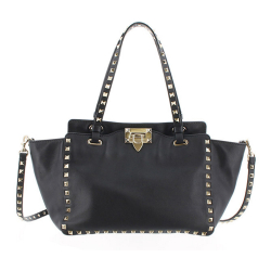 Valentino B Valentino Black Calf Leather Small Rockstud Satchel Italy