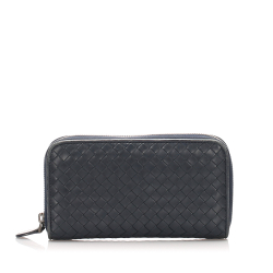 Bottega Veneta AB Bottega Veneta Black Calf Leather Intrecciato Zip Around Wallet Italy
