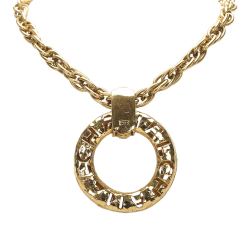 Chanel B Chanel Gold Brass Metal Ring Pendant Necklace France