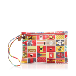 Hermès B Hermes Red with Multi Silk Fabric Printed Pouch France