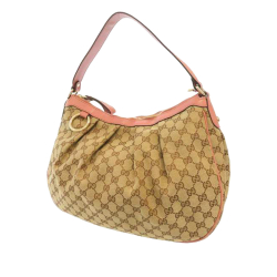 Gucci B Gucci Brown Beige with Pink Canvas Fabric GG Sukey Shoulder Bag Italy