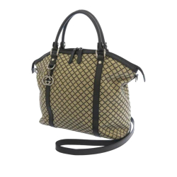 Gucci AB Gucci Brown Beige with Black Canvas Fabric Diamante Satchel Italy