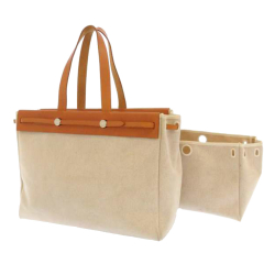 Hermès B Hermes Brown Beige Canvas Fabric Herbag Cabas MM France