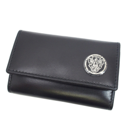 Gucci B Gucci Black Calf Leather Crest Key Holder Italy