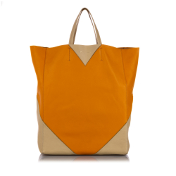 Celine AB Celine Orange with White Calf Leather Vertical Coeur Cabas Tote Bag ITALY
