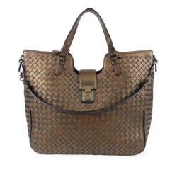 Bottega Veneta B Bottega Veneta Brown Bronze Calf Leather Intrecciato Satchel Italy