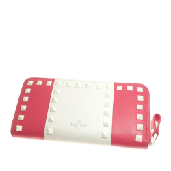 Valentino B Valentino Pink with White Calf Leather Rockstud Long Wallet Italy