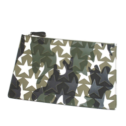 Valentino B Valentino Green with Multi Canvas Fabric Camustars Embossed Clutch Bag Italy