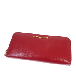 Saint Laurent B YSL Red Patent Leather Leather Zip Around Long Wallet Italy
