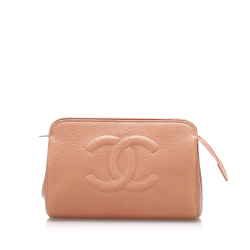 Chanel B Chanel Orange Caviar Leather Leather CC Pouch France