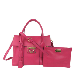 Salvatore Ferragamo B Ferragamo Pink Calf Leather Gancini Sookie Satchel Italy