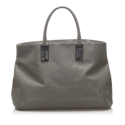 Bottega Veneta B Bottega Veneta Gray Coated Canvas Fabric Marco Polo Tote Bag Italy