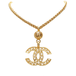 Chanel B Chanel Gold Brass Metal CC Pendant Necklace France