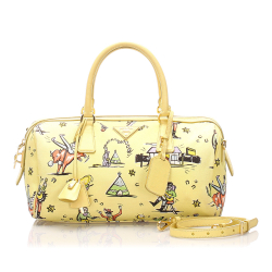 Prada AB Prada Yellow with Multi Canvas Fabric Printed Satchel Italy