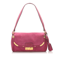 Prada B Prada Purple Suede Leather Shoulder Bag ITALY