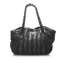 Prada B Prada Black Calf Leather Tessuto Chain Tote Bag Italy