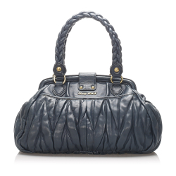 Miu Miu B Miu Miu Blue Calf Leather Coffer Handbag France