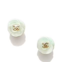 Chanel B Chanel White with Gold Resin Plastic CC Camellia Earrings France