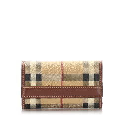 Burberry B Burberry Brown Beige with Multi PVC Plastic House Check Leather Key Holder United Kingdom