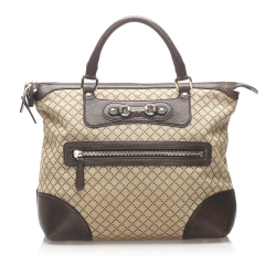 Gucci B Gucci Brown Beige Canvas Fabric Diamante Horsebit Catherine Tote Bag Italy