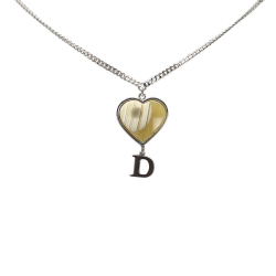 Christian Dior B Dior Silver Brass Metal D Logo Heart Shell Necklace France