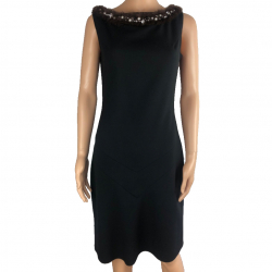 Blumarine Black dress with rabbit collar